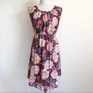 LOFT Burgundy Floral Cap Sleeve Gathered Dress, XS